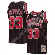 Maglie NBA Chicago Bulls 1995-96 Scottie Pippen 33# Nero Hardwood Classics Canotte Swingman..
