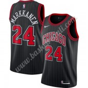 Maglie NBA Chicago Bulls 2019-20 Lauri Markkanen 24# Nero Finished Statement Edition Canotte Swingma..