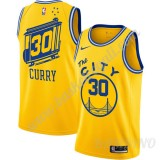 Canotte Basket Bambino Golden State Warriors 2019-20 Stephen Curry 30# Giallo Finished Hardwood Classics Swingman