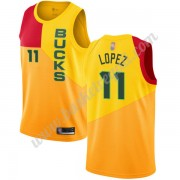 Maglie NBA Milwaukee Bucks 2019-20 Brook Lopez 11# Giallo City Edition Canotte Swingman..