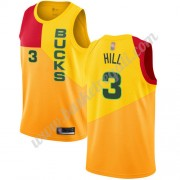 Maglie NBA Milwaukee Bucks 2019-20 George Hill 3# Giallo City Edition Canotte Swingman..