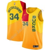 Maglie NBA Milwaukee Bucks 2019-20 Giannis Antetokounmpo 34# Giallo City Edition Canotte Swingman