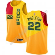 Maglie NBA Milwaukee Bucks 2019-20 Khris Middleton 22# Giallo City Edition Canotte Swingman..