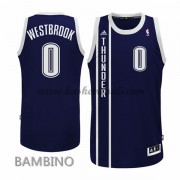 Canotte Basket Bambino Russell Westbrook 0# Blue Alternate 2015-16 Maglia Oklahoma City Thunder