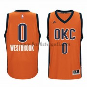 Maglie NBA Russell Westbrook 0# Orange Alternate 2015-16 Canotte Oklahoma City Thunder