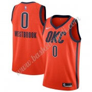 Maglie NBA Oklahoma City Thunder 2019-20 Russell Westbrook 0# Arancia Earned Edition Canotte Swingma..