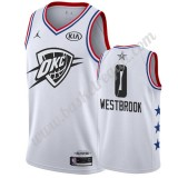 Maglie Basket NBA Oklahoma City Thunder 2019 Russell Westbrook 0# Bianca All Star Game Canotte Swingman