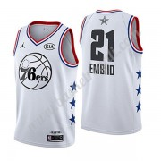 Maglie Basket NBA Philadelphia 76ers 2019 Joel Embiid 21# Bianca All Star Game Canotte Swingman..