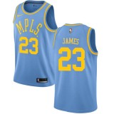 Maglie NBA Los Angeles Lakers 2018 Canotte LeBron James 23# Light Blue Hardwood Classics