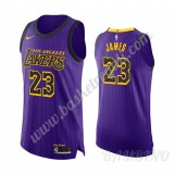 Canotte Basket Bambino Los Angeles Lakers 2019-20 LeBron James 23# Viola City Edition Swingman