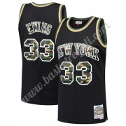 Maglie NBA New York Knicks 1991-92 Patrick Ewing 33# Nero Straight Fire Camo Canotte Swingman..